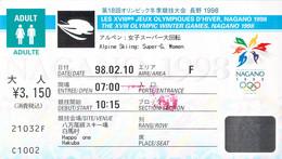 Japan Ticket 1998 Nagano Olympic Games Alpine Skiing Women Super-G  (G131-34) - Winter 1998: Nagano