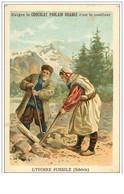 CHROMOS.CHOCOLAT POULAIN ORANGE.n°120.L'IVOIRE FOSSILE (SIBERIE).PAYSANS AU TRAVAIL - Poulain
