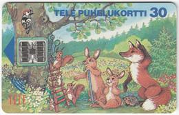 FINLAND B-015 Chip Tele - Cartoon, Animal, Fox, Rabbit, Squrrel - Used - Finlandia