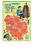 23 - LA CREUSE - Carte Géographique  / Champignon Miel Châtaigne Poisson - Blason Folklore Musique Vielle Dolmen - Unclassified