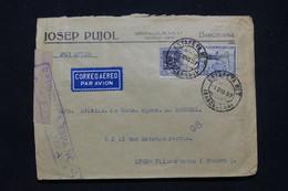 ESPAGNE - Enveloppe Commerciale De Barcelone Pour La France En 1937 Par Avion Avec Cachet De Censure - L 98981 - 1931-50 Covers
