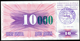 Bosnia And Herzegovina,10 000 Dinara, Handstamp Travnik, 1993,P53(c),as Scan - Bosnia Erzegovina