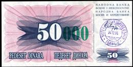 Bosnia And Herzegovina,50 000 Dinara, Handstamp Travnik, 1993,P54(c),as Scan - Bosnia Erzegovina