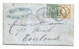 - RHONE - LYON - Cachet à Date T.17 S/ Affranchissement. Mixte N°59 - N°65 - 1872 - 1876-1878 Sage (Type I)