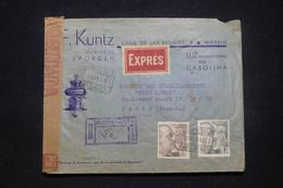ESPAGNE - Enveloppe Commerciale En Recommandé Et En Exprès De Madrid Pour Paris En 1945 Avec Contrôle - L 99007 - 1931-50 Covers
