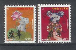 Superbe Paire Timbres Gommés 5376 Et 5378 Année Du Rat Petit Format 2020 Oblitérée TTB PCD Rond - Used Stamps