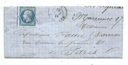 - CHARENTE INFERIEURE - MARENNES - PC.1873 S/TPND Perçé En Ligne N°14 + ,Càd Type 15-1862 - 1853-1860 Napoléon III
