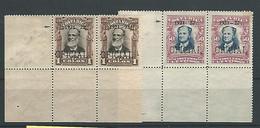 1921.- COSTA RICA. OFICIAL YV Nº 47 Y 48. SIN RAYA ENTRE 1921 Y 1922 EN PAREJA CON UNO NORMAL , ESQUINA DE PLIEGO. NUEVO - Costa Rica