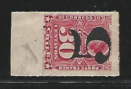 1900- CHILE YV Nº 41 SOBRECARGA INVERTIDA. BORDE HOJA - Chile
