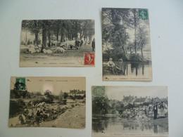 CPA / Lot De 4 Cartes Postales Anciennes / Nièvre 58 / Prémery Champ De Foire , Donloups , Laveuses , Lavandières - Andere Gemeenten