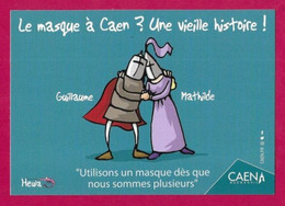 CPM.    Humour-Covid.    Le Masque à Caen ?  Une Vieille Histoire !     Heula éditions.    Postcard. - Humour