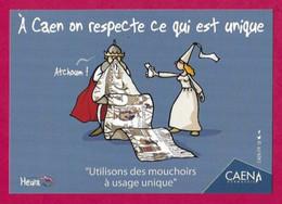 CPM.    Humour-Covid.    A Caen On Respecte Ce Qui Est Unique !     Heula éditions.    Postcard. - Humour