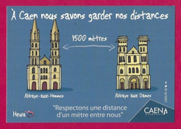 CPM.    Humour-Covid.    A Caen Nous Savons Garder Nos Distances !     Heula éditions.    Postcard. - Humour