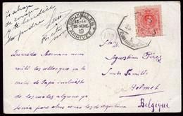 """España - Edi O TP 269 - Postal - Mat Ambulante """"Amb S Juan Abadesas - Barna - 5"""" A Bélgica - Cartas"""