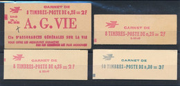 EC-113: FRANCE: Lot Avec  Carnets** Ouverts N°1263C2 (timbres Pâles)-1331C2-1331C3A-1331AC1 - Definitives