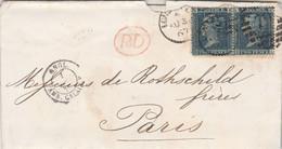Yvert 27 X 2 Paire Planche 9 Lettre London 31/8/1867 Cachet PD + Entrée Angl. Amb. Calais Pour M De Rothschild Paris - Cartas