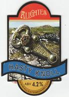 ALLGATES BREWERY  (WIGAN, ENGLAND) - HASTY KNOLL - PUMP CLIP FRONT - Letreros