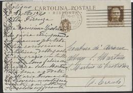 STORIA POSTALE REGNO - CARTOLINA POSTALE  IMPERIALE CENT 30 (INT. 85R) DA FOLIGNO 3.08.40 PER S. MARTINO DI CASTROZZA - Marcophilia