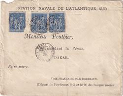 FRANCE - Lettre De La Station Navale De L'Atlantique Sud Pour Le Commandant De La Vénus Du 1er Décembre 1879 - 1877-1920: Semi-Moderne