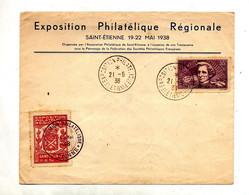 Lettre Cachet Saint Etienne Exposition Philatelique Sur Berlioz + Vignette - Gedenkstempels
