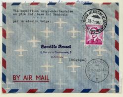 Lettre  De La Base Antarticque Belge 23/01/64 Vers Bxl 22/02/64avec N° 1067 Papier Terne - 1953-1972 Anteojos