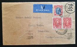 Südrhodesien 1937, AIR MAIL Brief MiF S.RHODENIEN über ATHEN Nach ROUDNICE Tschechoslowakei - Zuid-Rhodesië (...-1964)