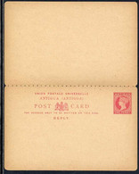 GB - ANTIGUA - QV / ENTIER POSTAL DOUBLE ANCIEN - REPONSE PAYEE (ref 8349a) - Antigua And Barbuda (1981-...)