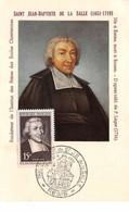 FRANCE .CARTE MAXIMUM. N°207915. 1951. Cachet Reims. St Jean Baptiste De La Salle - 1950-59