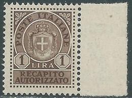 1946 LUOGOTENENZA RECAPITO AUTORIZZATO 1 LIRA MNH ** - RE20-9 - Recapito Autorizzato