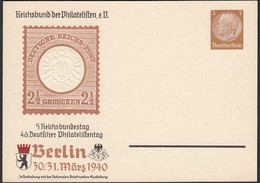 3.Reich Privatganzsache 1940 5.Reichsbundtag 46. Philatelistentag Prägedruck - Enteros Postales