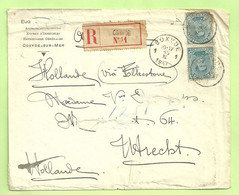141 Op Brief Aangetekend Stempel COXYDE 1  Op 15/2/17, Naar Utrecht, Verso CENSURE MILITAIRE 50 (B2848) - Niet-bezet Gebied