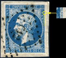 France - Yv.14A 20c Bleu T.1 Oblitéré PC 612 (Carcassonne) Pos. 13G1 (2è état) - TB Sur Petit Fragment - (ref.03w) - 1853-1860 Napoleon III