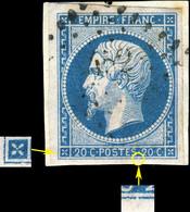France - Yv.14A 20c Bleu T.1 Oblitéré PC 1452 (Grenoble) Pos. 24D4 (1er état) - TB Sur Petit Fragment - (ref.03x) - 1853-1860 Napoleon III