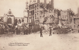 LEUVEN-LOUVAIN-L'EGLISE ST. PIERRE-APRES LE BOMBARDEMENT-CARTOLINA VERA PHOTO-NON VIAGGIATA - Leuven