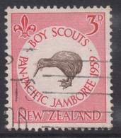 NEW ZEALAND 1959 SCOUT JAMBOREE 3d RED 'KIWI' STAMP USED - Used Stamps