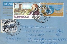 PAKISTAN 1973 AIRMAIL AEROGRAM / AEROGRAMME  POSTED FROM KARACHI I WITH KEMAL ATATURK  STAMP. - Pakistán
