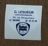 AUTOCOLLANT  G. LESUEUR - CONCESSIONNAIRE LANCIA - RUE DICQUEMARE LE HAVRE - VOITURE AUTOMOBILE GARAGE - Stickers