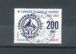 Superbe Timbre Gommé Nouveauté Compagnie Des Guides De Chamonix 2021 Oblitérée TTB PCD Rond - Gebraucht