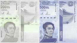 VENEZUELA Pair 200000 500000 Bolivares 3 Sept, 2020 P NEW UNC (2 Banknotes) - Venezuela