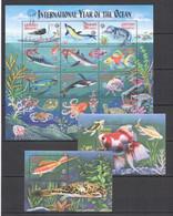 TT813 GRENADA GRENADINES FAUNA FISH & MARINE LIFE YEAR OF OCEAN !!! 1SH+2BL MNH - Vita Acquatica