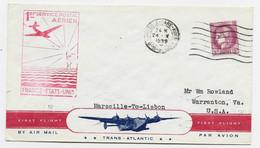 CERES 3FR SEUL LETTRE AVION MEC MARSEILLE GARE AVION 24.V.1939 POUR USA VIA LISONNE AU TARIF - Covers & Documents