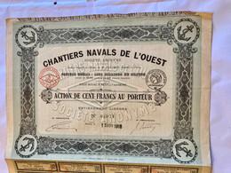 S.A.  CHANTIERS  NAVALS  De  L' OUEST  ---------- Action  De  100 Frs - Navy
