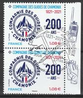 """2021 - Y/T 5489  """"COMPAGNIE DES GUIDES DE CHAMONIX 200 ANS"""" - PAIRE BDF ISSU FEUILLET - OBLITERE 1er Jour 21.05.21 - 2010-.. Matasellados"""