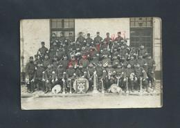MILITARIA CARTE PHOTO MITAIRE GROUPE SOLDATS MUSICIEN CIE H R Ecole MILITAIRE 29e PARIS ANNÉE 1915 ? TAMPON CROIX ROUGE - Oorlog 1914-18