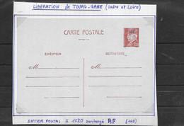 Entier Postal   De Libération   De TOURS  GARE18 - Liberation