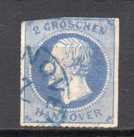 - ALLEMAGNE / HANOVRE N° 25 Oblitéré - 2 G. Bleu - Cote 75,00 € - - Hanover