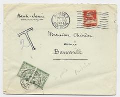 TAXE 20C PAIRE BONNEVILLE HAUTE SAVOIE 3.11.1924 LETTRE DE SUISSE HELVETIA 20C GENEVE TARIF FRONTALIER - Postage Due Covers