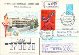 Soviet Upfranked Postal Stationary Torch Relay From Chernobyl - Registered - 1980 Moscow Olympic Games  (G131-31) - Sommer 1980: Moskau