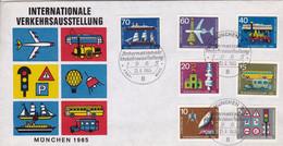 """BRD,1965, Erinnerungsumschlag """" Internationale Verkehrsausstellung München"""" Mit Nr. 468-474, Kompletter Satz - Covers & Documents"""