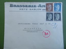 Très Belle LETTRE - METZ - SABLON  ( MOSELLE )   - Censure Militaire - Guerre 1939 - 1945 - BRASSERIE - Guerre De 1939-45